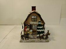 Holiday Tin Metal Shed Barn Tea Light Candle Holder Christmas Decoration ch1171