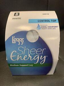 L'eggs Women's Sheer Energy Sheer Toe Pantyhose size B White 👀🦵