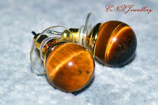 Natural Crystal Yellow Tiger's Eye Gemstone Earrings Studs Gold