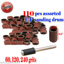 "110+  Assorted Rotary Tool Sanding Drum 1/4"" x 1/2"" For Rotary Foredom 1/8""  430"