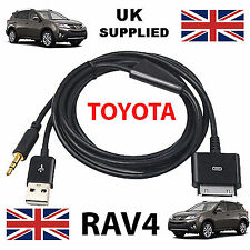 Toyota Rav 4 Iphone, Ipod USB & Aux 3.5mm Cable de Recambio en Negro