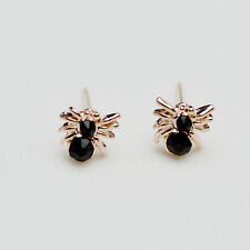 14K /14ct Rose Gold Plated Cute Spider Crystal Stud Earrings Butterfly Backs