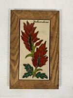 Vintage YELLOWSTONE Ceramic Floral Tile - Wooden Frame
