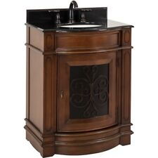 "29"" Traditional Bathroom Vanity with Black Granite Top & Sink, Powder Room Foyer"