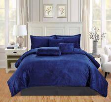 7Pc Full Solid Navy Blue/Dark Grey Micromink Velvet Comforter Set Warm Bedding