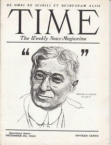 "Vintage TIME ""THE WEEKLY NEWS"" Bernard Baruch December 30, 1922 Specimen Issue"