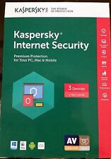 New Kaspersky Internet Security 2017 - 3 Device 1 Year - Free Shipping!