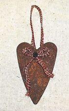 "Primitive 4-1/2"" Rusty Heart Ornament w/ Red Burgundy Homespun Bow & Button"