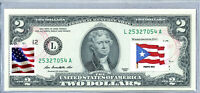US Two Dollar Bill Currency Paper Money $2 Federal Reserve Note Flag Puerto Rico