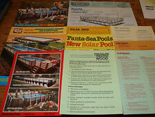 Original 1970s Fanta-Sea Solar Pool Sales Brochure & Sheet Lot