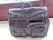Grand  sac de voyage vintage en cuir épais surpiqué-travail artisanal/fait main