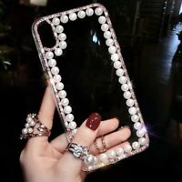 Clear Glitter Pearl Phone Case For iPhone 11 Pro Max XR XS for Samsung Galaxy