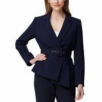 TAHARI ASL NEW Women's Navy Petite Asymmetrical Belted Blazer Jacket Top 2P TEDO