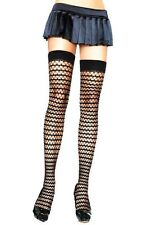 Leg Avenue Pyramid Net Striped Thigh High  Stockings  Black 90-160 LBS  One Size