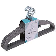 Grey Velvet Hangers Non-Slip Flocked Coat hangers Space Saving 360° Swivel Hook