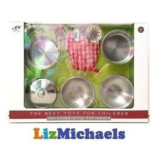 9PC KIDS KITCHEN COOKWARE TOY METAL COOKING POTS PANS SET PRETEND PLAY stainless