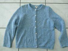 LL BEAN Womens Medium Sweater Cardigan Marled Heather Button Front Blue C672