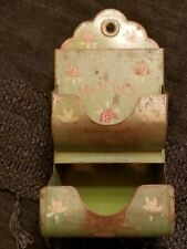 Antique Vintage Tin Metal Wall Mount  Match Holder Box Painted Flowers Green