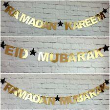 Personalised Ramadan Mubarak Kareem Eid Mubarak Bunting Banners Decorations Gold