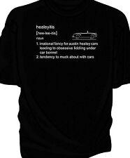 Austin Healey Frogeye Sprite classic car t-shirt  - 'healeyitis' definition.