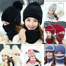 3PCS/Set Women Winter Warm Fleece Crochet Knit Beanie Hat Ski Cap Scarf Mask