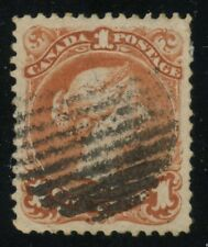 Canada 1868 Large Queen 1c brown red #22 VF used grid cancel