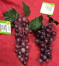 "2 Sets Of 6"" Long Soft Rubber Grape Vine Clusters W/ Leaves Color-Light Purple"