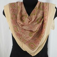 Vintage Large Square Scarf Peach Green Orange Brown Block Print Pattern 31x31