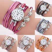Women Crystal PU Leather Analog Quartz Bracelet Bangle Wrist Fashion Watch