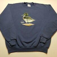 Waterfowl Festival Sweatshirt Mens M Duck Easton Maryland Jerzees Bird Blue H54