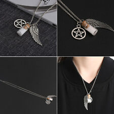 USA-SUPERNATURAL PENTACLE ANGEL WING BLUE & WHITE BOTTLE SILVER PLATED NECKLACE