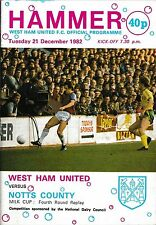 Football Programme>WEST HAM UNITED v NOTTS COUNTY Dec 1982 FLC