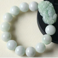 New Natural Grade A Jade Jadeite 12mm Bead Pixiu Lucky Bracelet Good Luck