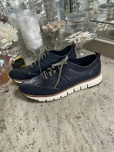 Cole Haan ZeroGrand Blue Perforated Leather Wingtip Dress Casual Shoe Men 13M