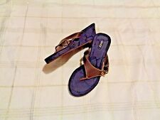 womens chaps brown & blue wedge heel thong sandals shoes size L 9/10