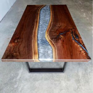 Gray Epoxy Wooden Walnut, Dining/Sofa/Center Custom Natural Decors Made To Order