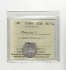 1880H  Obv.#1 , ICCS  Graded Canadian,  10  Cent, **MS-64**
