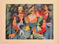 "Disney Art Print Lithograph 11""x14"" Little Mermaid King Triton Sisters Family"
