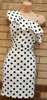 QUIZ WHITE BLACK SPOTTED POLKA DOT RUFFLE FRILL BODYCON PARTY SEXY DRESS 12 M