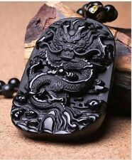 Volcanic Protective Obsidian Dragon Pendant Necklace - Hand Carved-UK Stock
