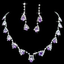 Purple And Clear White Rhinesrones Bridal Wedding Necklace Earrings Set