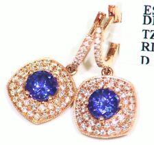 2.47CT 14K Gold Natural Tanzanite Diamond Vintage D Block Engagement Earrings