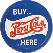 "Pepsi Cola Buy Here 12"" Round Tin Metal Sign Nostalgic Retro Home Wall Decor"