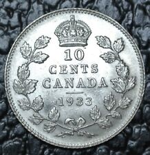 OLD CANADIAN COIN 1933 - 10 CENTS .800 SILVER - George V - Nice Coin - LUSTRE