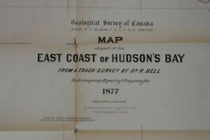 """1877 """"HUDSON'S BAY PART OF THE EAST COAST """"GEOLOGICAL SURVEY OF CANADA 6 FEET"""