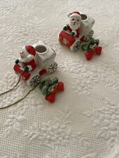 Lot Of 2 Antique Commodore Santa In Sled