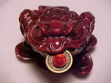 Red Money Toad Frog Feng Shui Money Toad Lucky on Ingots with Coin in Mouth