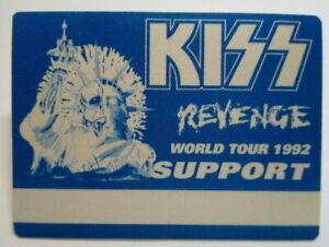 Kiss Revenge Backstage Pass Original Hard Rock Music Concert Tour Blue Skull 92