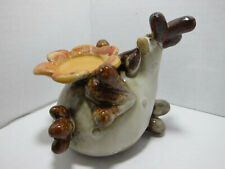 """Ceramic Chicken Figurine Candle Holder 4.5"""" Cute Collectible Farm Barn Display"""