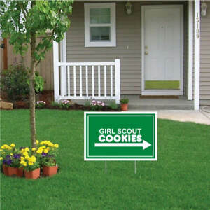 "12""x18"" Girl Scout Cookies For Sale - Yard Signs (Set/2) with Stakes SHIPS FREE!"